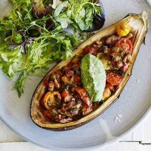 Roasted stuffed eggplant with whipped feta & spinach