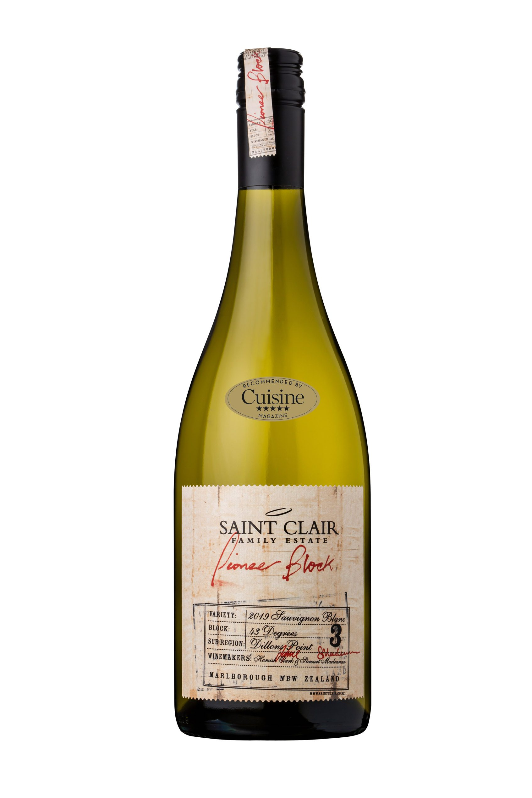 Saint Clair Pioneer Block 3 43 Degrees Sauvignon Blanc 2019 (Marlborough)